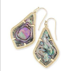 Kendra Scott Alex earrings in abalone and gold